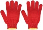 Перчатки вязаные утепленные красные х/б, FIT, 12498