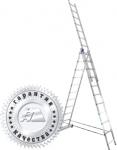 Лестница трехсекционная универсальная алюминиевая усиленная 3х12, АЛЮМЕТ, 6312